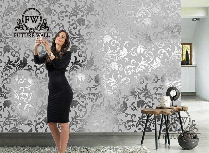 کاغذ دیواری آیینه ای ۳ بعدی طوسی