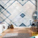 کاغذ دیواری مدرن خطی آبی