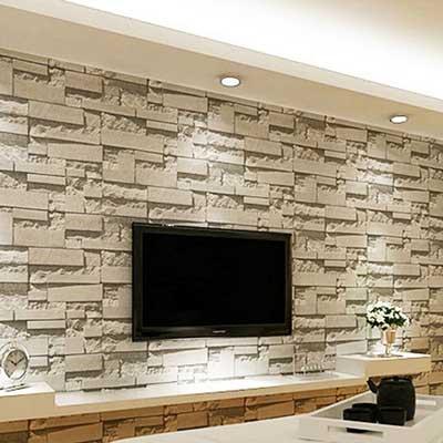کاغذ دیواری طرح سنگ پشت تلویزیون